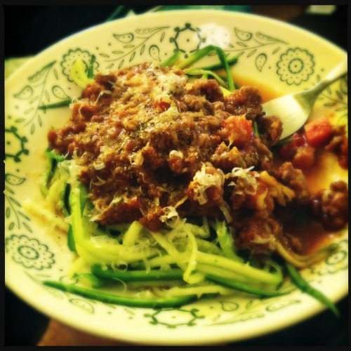 Grass-fed Beef Spaghetti and Zoodles (Zucchini Noodles)