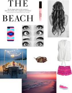 Dinner at the Beach by shmeagand featuring silk shirts ❤ liked on PolyvoreEquipment silk shirt, $245 / Billabong highwaist shorts / Vans  sneaker / Chan Luu leather bracelet / Stila lip makeup, $23