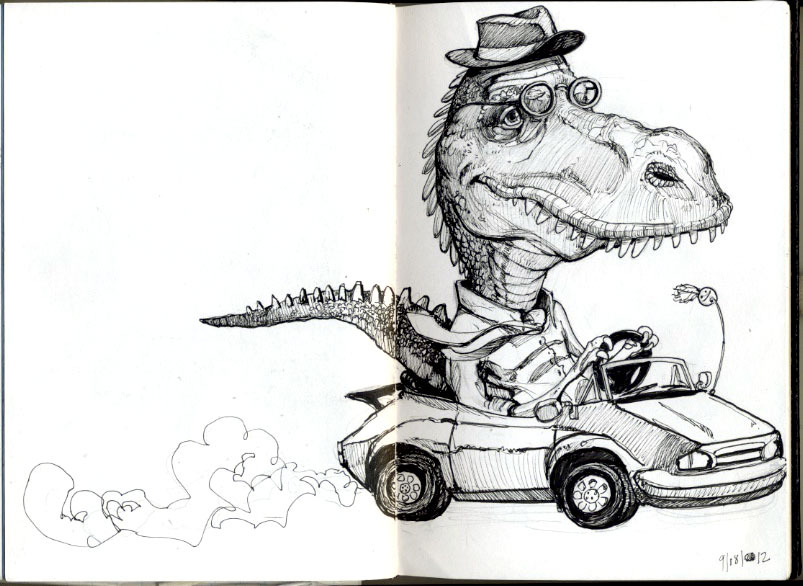 Doodle in my sketchbook, Dinosaurs and cars, a wonderful combination!