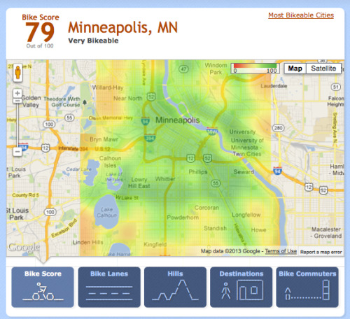 "Walk Score, a site that calculates the walkability of any location in the U.S., has now also rated the bikeability of U.S. cities. The aim of bike Score is to help people understand just how bike-friendly a neighborhood is. The site ranks cities out of a score of 100, where 90 to 100 means ""biker's paradise"" while 50 to 69 means ""bikeable"" but not fantastic. The score is calculated by taking in various factors, including the number of bike lanes, hills, road connectivity, and the number of bike commuters. The top five most bikeable cities in the U.S. include Minneapolis (79), Portland (70), San Francisco (70), Boston (68), and Madison (67). At the bottom are Pittsburgh (39), Texas (38), and Cincinnati (37), while New York ranks somewhere closer to the top with a score of 62.  (via The Most Bikeable Cities In America - PSFK)"