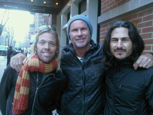 Boom Boom Bap!!Chad Smith with Foo Fighters Drummer, Taylor Hawkins and Rage Against The Machine Drummer, Brad Wilk.