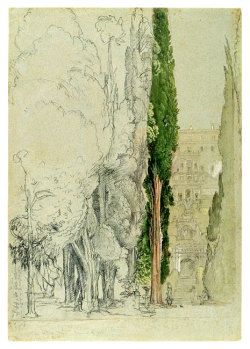 Samuel Palmer (1805–1881)The Villa d'Este at Tivoli from the Cypress Avenue the Morgan Library