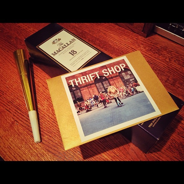Today was crazy. I woke up to find out Thrift Shop went Platinum. I'm grateful and in disbelief how much our fans have gone above and beyond, spreading our music and supporting us since the beginning. Going platinum as an independent artist simply doesn't happen unless your fans make it happen, and I'm constantly reminded how blessed we are to have the fans we do. I was surprised today with a nice card, some champagne and a good bottle of whiskey (my favorite) reminding me to just stop and celebrate for a second. My glass is raised #SFG — Ryan