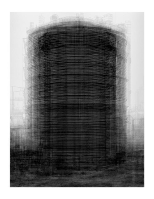Idris Khan Every…Bernd And Hilla Becher Prison Type Gasholders 2004 Photographic Print 208 x 160 cm (via Saatchi Gallery)