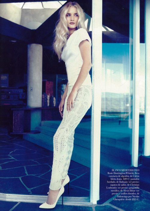 le-vogue-journal:  Rosie Huntington-Whiteley wears white Balmain pants in the March 2013 issue of Vogue España. Styled by Charles Varenne, photo by Michelangelo di Battista.