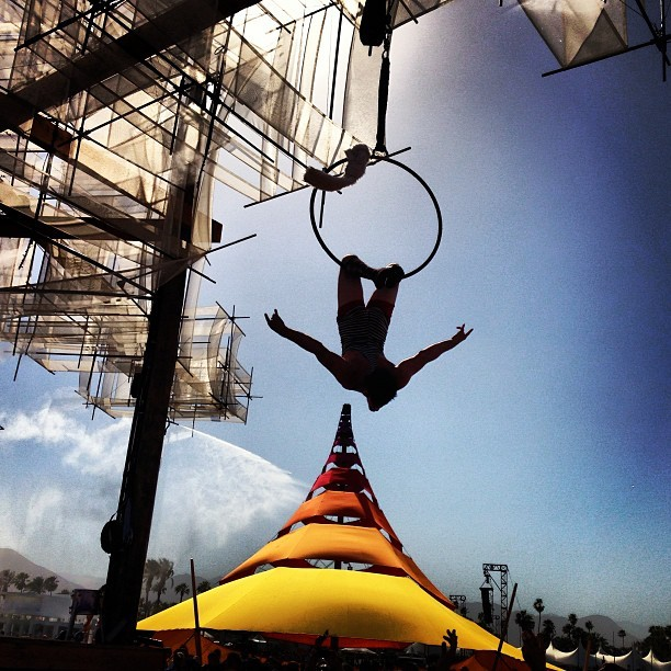 instagram:  Instagrammers Capture Coachella 2013  Want to see more photos? Check out Coachella's location pages: Coachella, Coachella Music Festival Car Camping, Main Stage, Coachella Valley Music And Arts Festival.  Last weekend and again this weekend, music lovers will flock to Indio, California, for three sunny days of music and art at the Coachella Valley Festival (@coachella). This 14-year-old festival draws upwards of 75,000 people to the desert each weekend with a large number of attendees camping on site. To follow along with this weekend's performances and events, be sure to follow a few of the bands and singers who will be performing:  Sigur Rós — @sigurros Yeah Yeah Yeahs — @yeahyeahyeahs Dave Rowntree (Blur) — @davidrowntree Pretty Lights — @prettylights Hardwell — @hardwell Tegan and Sara— @teganandsara Theophilus London — @theophiluslondon The Lumineers — @thelumineers Poliça — @thisispolica Major Lazer — @majorlazer