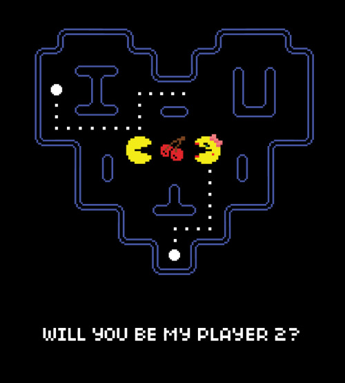 zombiebacons:  WILL YOU BE MY PLAYER 2? Valentines Day is less than a month away, download a printable fold-able .pdf valentine for your geeky sweetie: http://www.anthonypetrie.com/pacman.pdf For more poster updates, follow me here: Twitter  |  Behance  |  Website  |  Blog  |  DeviantArt