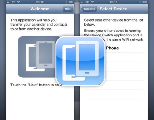 Device Switch iOS - transfer contacts and calendar without help of any PC or Mac.