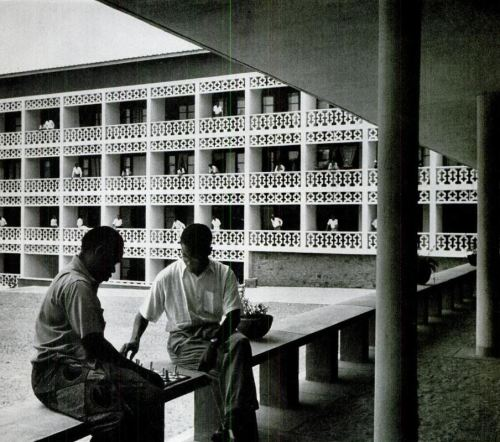 mikasavela:  Residence hall at the University College in Ibadan, Nigeria. Modernizing Africa was the theme of Life Magazine, May 1953. The story highlighted the words: European faculty, British architects and educated elite.  I imagine this is the University of Ibadan that my dad attended… I wonder what it looks like now.
