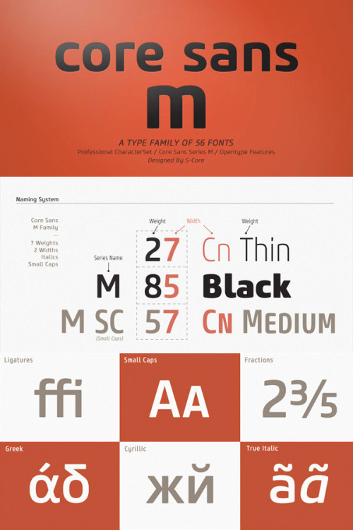 Core Sans M - Font Family The Core Sans M type family belongs to the Core Sans Series in good company with Core Sans N and Core Sans N SC. This sans font family was created by the font designers Hyun-Seung Lee, Dae-Hoon Hahm, Min-Joo Ham (Font Publisher: S-Core). Buy the Core Sans M type family on MyFonts.com Core Sans M Type Family on WE AND THE COLORWATC//Facebook//Twitter//Google+//Pinterest