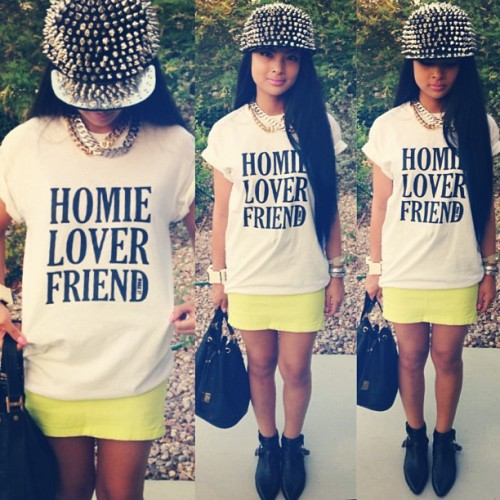 fashionpassionates:  GET THIS DOPE LOOK! Get the tee from Shop UB here: HOMIE LOVER FRIEND TEE Get your very own cap here: SPIKE CAP