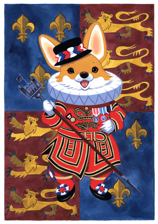 Beefeater Corgi by ~Pocketowl Find more Illustrations and Contemporary Art in www.garabating.com