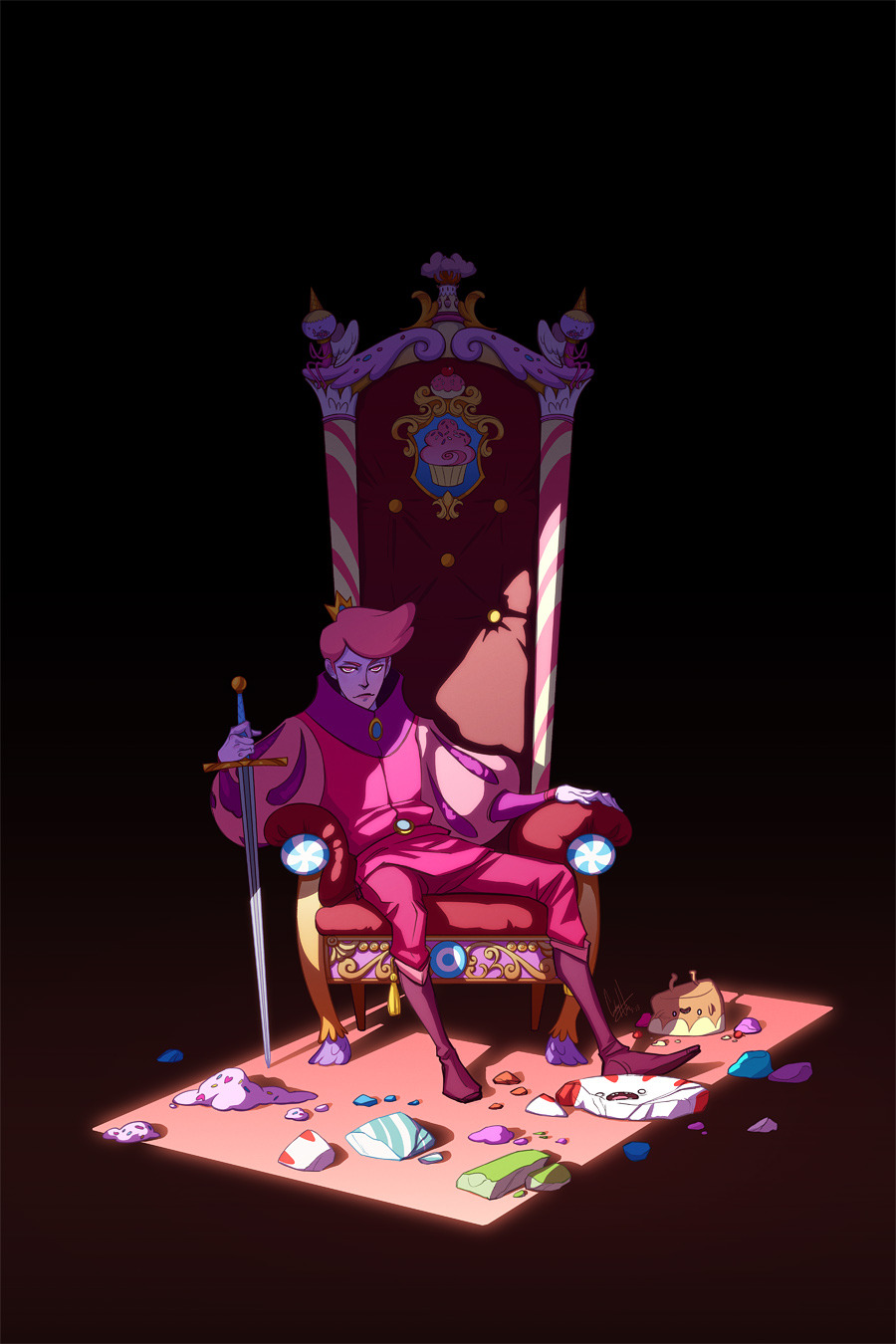 kisskicker:  Prince Gumball's path to the throne was brutal. Fionna wasn't around during the Sugar Wars; Gumball distracts her by acting super bland and wearing disco pants. Marshall Lee knows the truth, but as Chaotic Neutral, he just can't bring himself to give a shit.