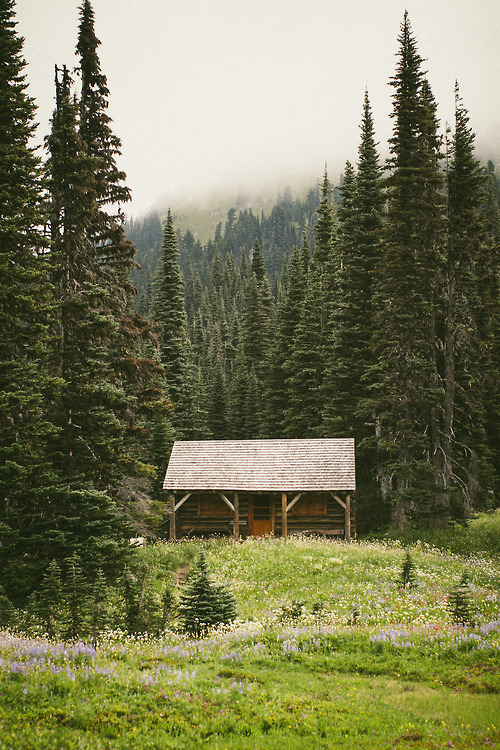 bluepueblo:  Mountain Cabin, Mount Rainier, Washington photo via therandom
