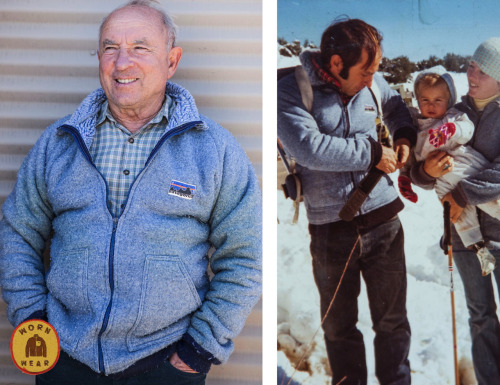 "wornwear:  The Grandfather Yvon Chouinard, Ventura, California Dear Patagonia, Little did we know this blue prototype fleece developed in '76, which we referred to as rare Siberian blue poodle fur, would be the grandfather of all fleeces. I knew that people like myself were seeking the joys of outdoor activities in greater numbers and they needed warmer, lighter, quick-drying clothes that did not bog down with moisture as did the  cotton and wool garments then commonly in use. I came to believe that the solution was synthetic layers: a base layer to wick, a fleece layer for warmth and an outside layer for wind and moisture protection. Once we came to that conclusion, Patagonia's team proved they were up to the task of creatively identifying and developing the necessary fabrics. As they say, ""necessity is the mother of invention,"" the ""necessity"" in this case being the need for a nonabsorbent insulating layer and the ""invention"" representing the resourcefulness of my wife, Malinda Chouinard, who was willing to try even an ugly fabric intended for toilet seat covers because we suspected it best fit our needs. That's  how synthetic fleece was born. We made the first fleece jackets out of a near-bankrupt company's left-over inventory of muddy, nondescript tan and bilious blue fleece, but it did indeed work, although it pilled badly, which made it look even worse. It has evolved, through trial and error, from that ""base"" into today's fleeces.  This first fleece jacket hangs proudly on the wall at Patagonia headquarters, but I had to take it down and try it on for old time's sake. ―Yvon"