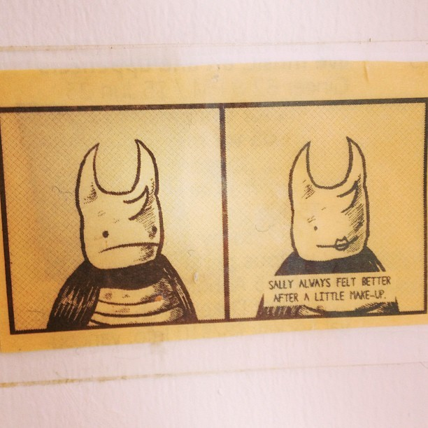 sassyfontaine:  I have had this little comic that I cut out of the UVic student paper over a decade ago and it makes me smile every day. Wish I had kept the author's name attached!