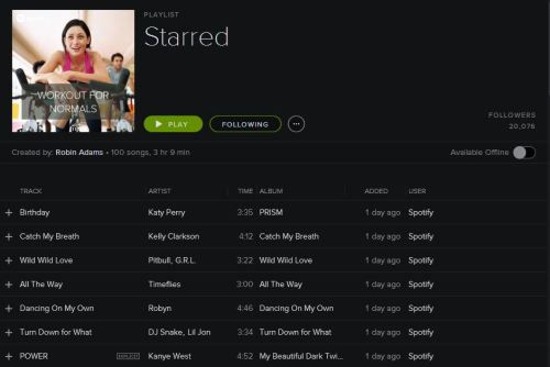 """A playlist on Spotify called """"Workout For Normals."""""""
