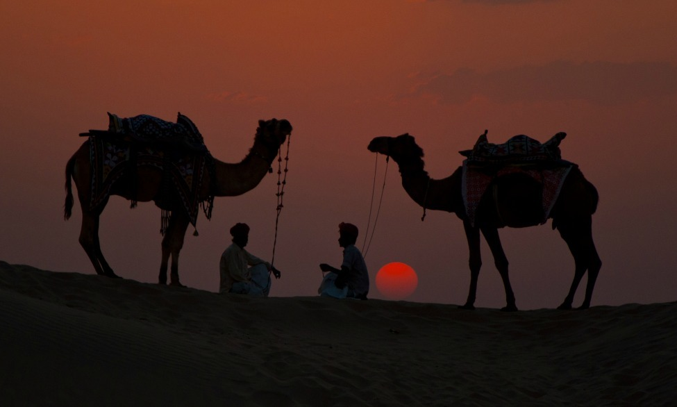 Photo of the Day: Two men and their camels silhouetted against a burnt sienna sky in India Photo by Devendra Sharma (Ratlam, India); Khudi Desert, Rajasthan