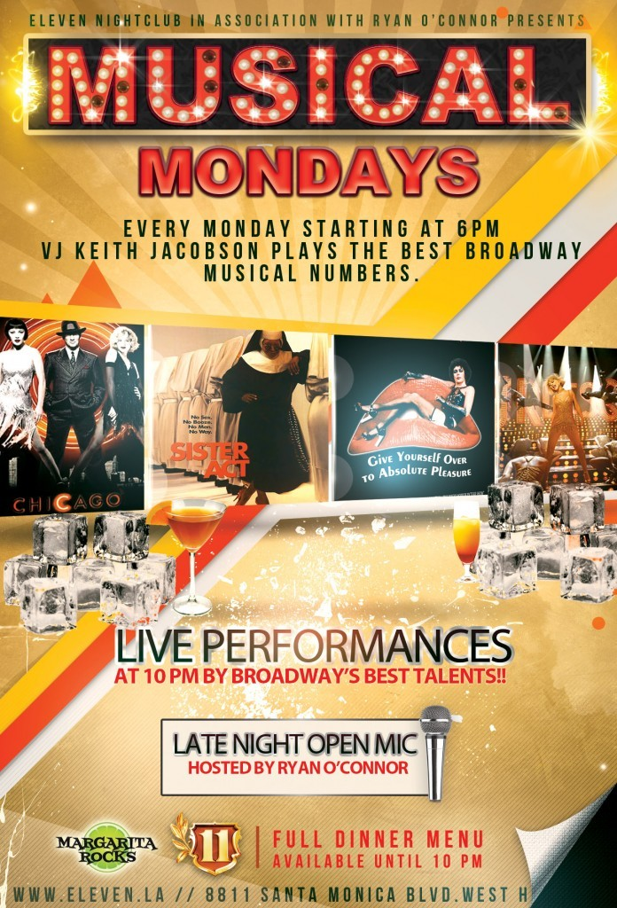 Flyer design.Musical Mondays Los Angeles + Karaoke (Open Mic)