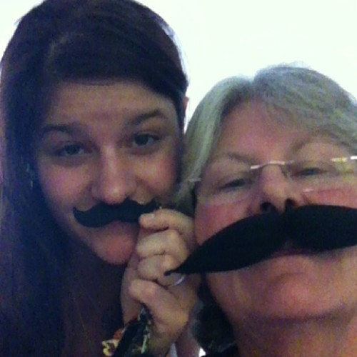 @themoldynachos, I #mustache you; aren't we the cutest? #likemotherlikedaughter #wellhellothere #bestgradgiftsever (at Casita Rosenberg)