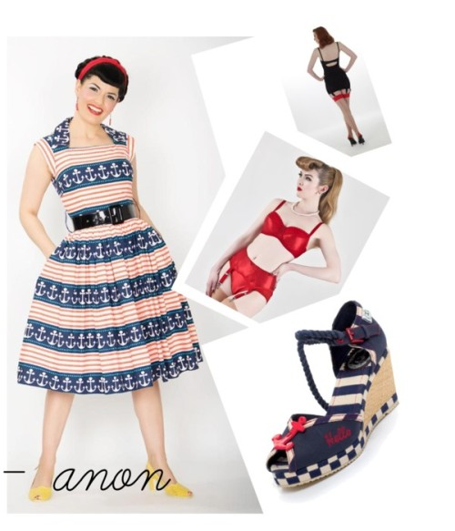 What Katie Did - Nifty Fifties Nautical's by whatkatiedidlingerie featuring retro style shoesBernie Dexter  dress, $195 / Retro stocking, $13 / Retro style shoes, $100 / Sexy vintage red satin suspender belt. Perfect lingerie gift., $46