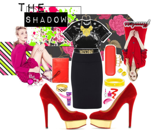 The Shadow by omgitsferucha featuring metallic handbagsGivenchy pencil skirt, $955 / Charlotte Olympia ankle strap pumps / Alexander McQueen metallic handbag, $1,595 / Valentino  handbag / Coach bracelets bangle / Kate Spade  bangle / Kate Spade  jewelry / Necklace / Moschino leather belt / NARS Cosmetics , $30 / Topshop lip cosmetic / Body moisturizer / Topshop , $7.91 / Topshop , $7.91