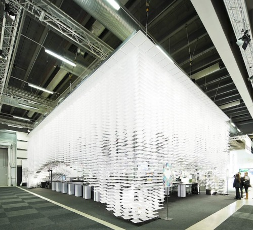 (via 700,000 Sheets of Paper Form Stunning 3D Design Space - My Modern Metropolis)