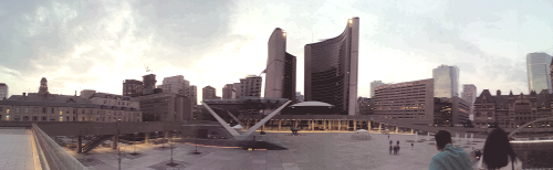 panorama of Toronto's city hall.  May 19, 2013.