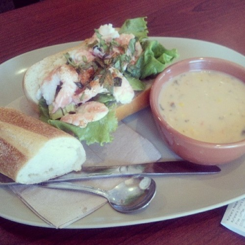 Shrimp Salad Sandwich with a cup of Corn Chowder. It looks good. I hope it taste good, haha #Lunch #Panera #SummerFoods