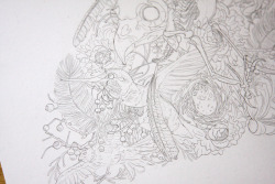 Detail shot of the drawing for Life Cycle ii