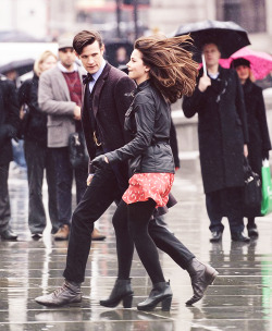 Jenna and Matt on set of Doctor Who 50th Anniversary