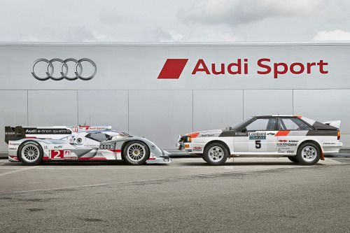 itracing:  Audi R18 e-tron quattro & Audi Quattro Rally In 2012 the Audi R18 e-tron quattro became the first hybrid car to win Le Mans.  Image via Audi_Nederland