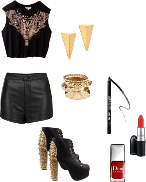 Leather shorts by rebekkab featuring heeled boots
