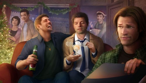 teamfreewill-fanart:   The Hunt Can Wait for the Dean/Cas Secret Santa Exchange