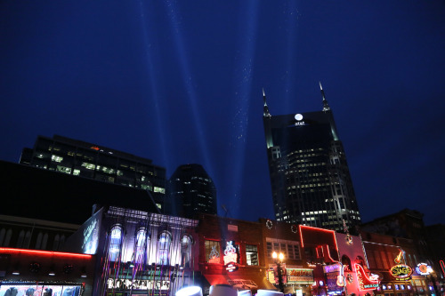 December 31, 2012 Rain sparkles in the searchlights at Nashville's downtown New Years Eve street party… Nashville, Tennessee This photo concludes my year-long daily photo project. I only missed six days all year.