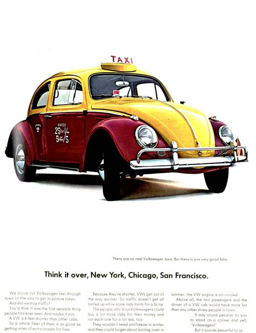 """There Are No Real Volkswagen Taxis.  But There Is One Very Good Fake."" Newsweek, 1964"