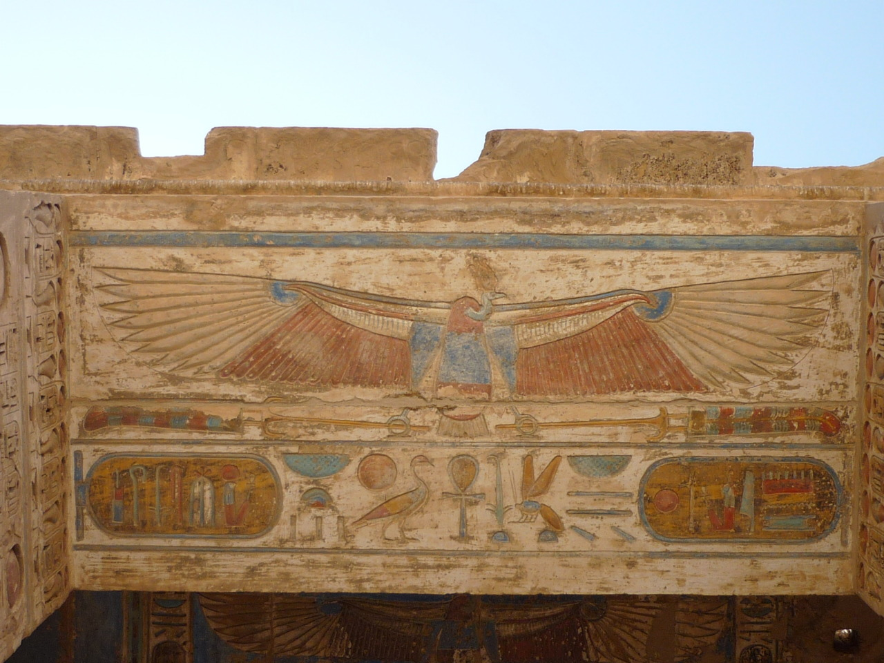 Ceiling with Nekhbet, mortuary temple of Ramses III, Medinet Habu, Theban Necropolis, Egypt. Photo courtesy & taken by Rémih