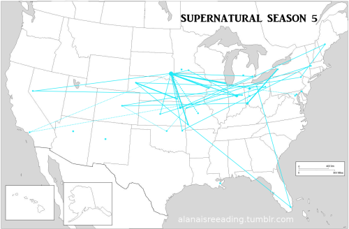thefandompool:  mostly-jensen:  alanaisreading:  I've been promising updated maps for months, and here they are. You can see my other maps at this page,  Please see the following posts for more details about each map. Season 1with episode detailsorwithout episode details Season 2with episode detailsorwithout episode details Season 3with episode detailsorwithout episode details Season 4with episode detailsorwithout episode details Season 5with episode detailsorwithout episode details Season 6with episode detailsorwithout episode details Season 7with episode detailsorwithout episode details Season 8with episode detailsorwithout episode details The final mileage is as follows (based onthe trip calculator athttp://www.distancescalculator.com/): Miles traveled in the Impala by season: 20,290 27,225 14,390 15,383 27,498 19,249 9,957 44,290 Total mileage for the first 8 seasons on the Impala: 178,282. However, in season 1 we see the Impala's odometer, and it has 70,098 miles showing on it in. If we subtract the known mileage from before that episode, when Dean first visited Sam at Stanford, his odometer probably read somewhere near 58,081, for a total of 236,363. But the odometer on the Impala only has 5 digits, so we have to assume that it has turned over a few times, with John and Dean driving it for hunting purposes since 1984. If we average the mileage per year we get a mean of about 22,285. If we assume that kind of mileage since 1984 (minus a few years for things like Dean parking it in Indiana for a year, etc.), the Impala probably has around 534,846 miles on it. Give or take. And this is just known highway mileage, not including driving within cities.   Baby is a beast!  WHY DONT THEY EVER GO TO FRIEAKING FLORIDA  BECAUSE IT'S REALLY HARD TO MAKE CANADA LOOK LIKE FLORIDA. WHY ARE WE YELLING?