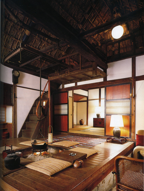 thekimonogallery:  'The photo above shows the central living area of a rural farmhouse on the border of Tochigi and Ibaraki prefectures. The house was restored by Kenji Tsuchisawa who bought it as a rundown heap when he was only 20.'