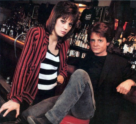 bibberly:  Another pic of Joan Jett and Michael J. Fox in 1987.  Light Of Day