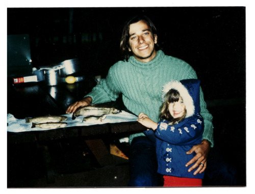 dad & little me. camping gear: cable sweater + cute coat