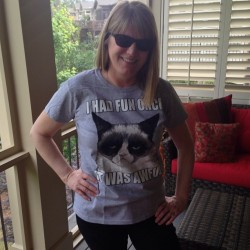 my #beautiful #mom in her #mothersday present! #grumpycat ❤🌹