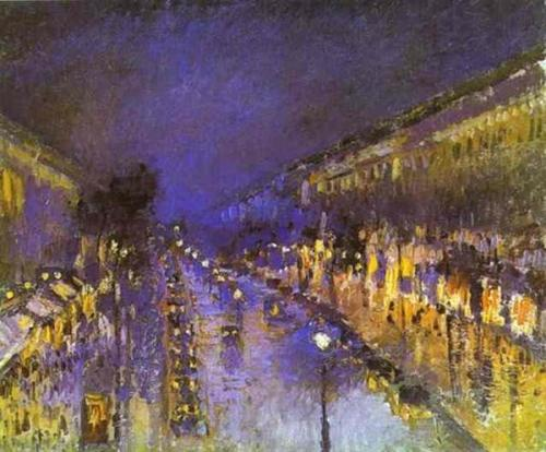 "to-the-starting-line:  CAMILLE PISSARRO: ""Le Boulevard Montmartre, effet de nuit (The Boulevard Montmartre at Night)"", 1897 - Oil on canvas, 53.3 x 64.8 cm - London, National Gallery"