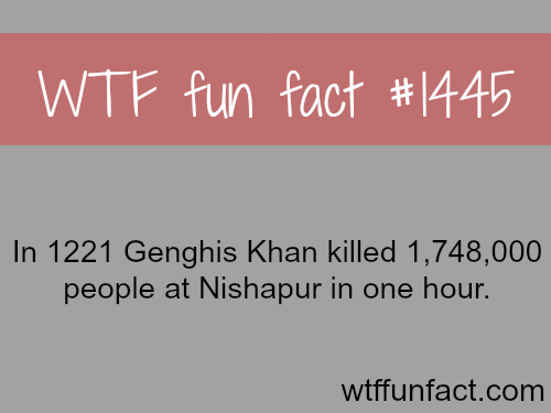 wtf-fun-factss:  Did Genghis khan kill 1 million people in one hour?  WTF FUN FACTS HOME  /  See MORE TAGGED/ History FACTS (source)