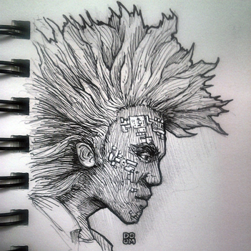 I started drawing a random dude and it turned out he looked like Rufio from that Peter Pan Movie where Robin Williams was Peter Pan. Also I put some circuitry on his face. I was thinking about how people were saying they were gonna tattoo electronics into humans in the future. To make things like Google Glasses and Minority Report Interfaces real without all the weird peripherals. And I just drew it on him. I plan to make hand-drawn art to try and find my own style and voice in art.