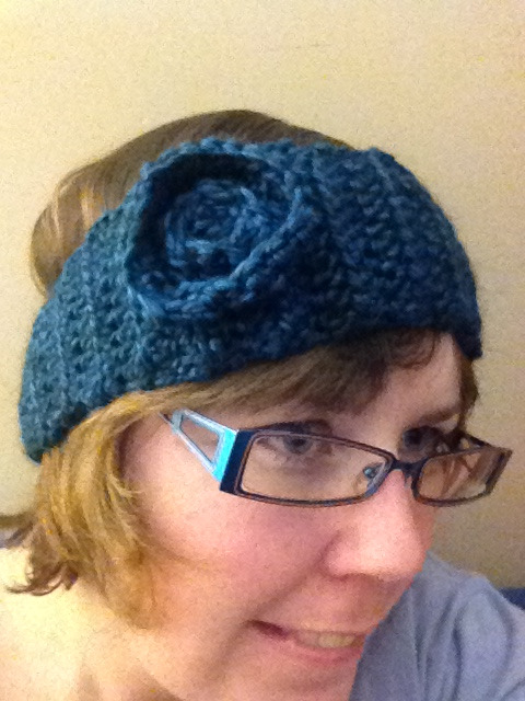 Ear warmer crocheted with yarn leftover from infinity scarf I finished yesterday!!