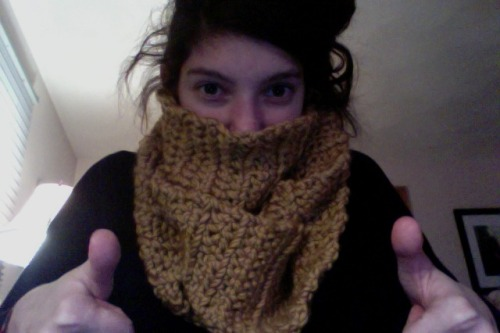 …and spent my day crocheting an infinity scarf.