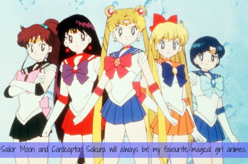 magicalgirlconfessions:   Sailor Moon and Cardcaptor Sakura will always be my favourite magical girl animes. For one reason, it's because I grew up with them, but also because Usagi/Serena and Sakura are heroes to me. They always will be. No anime females inspired me in the same ways those two did.  submitted by anon   CCS YEs. Sailor Moon? Not so sure.