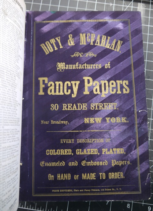 "An advertisement for Doty & McFarlan ""Fancy Papers"" from 1877 in our Book Conservation Lab for treatment. This sample sure is fancy!"