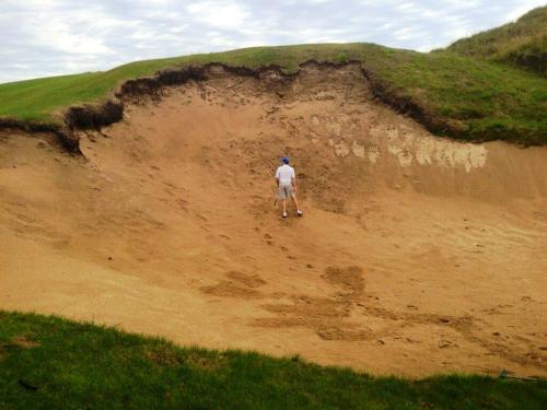 soulofgolf:  4th at Barnbougle via Great Golf Courses of Australias  I give this an average of 3 strokes minimum to get out of that bunker or sinkhole - as it should be called